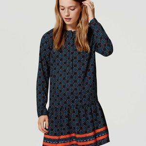 LOFT BLUE FIREWORKS DROP WAIST SHIRT DRESS